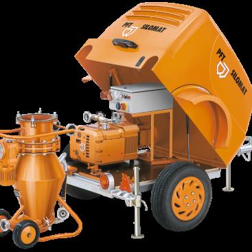 zeer compact transport systeem voor mortels gebouwd op een aanhanger